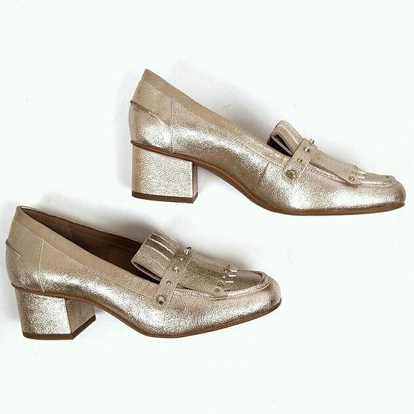 c1935fd73831 Franco Sarto Shoes - New Franco Sarto Gold Block Heel Lauryn Loafers